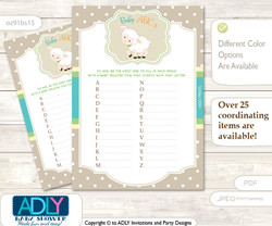 Neutral Lamb Baby ABC's Game, guess Animals Printable Card for Baby Lamb Shower DIY –Beige