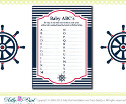 ABC's Game Nautical Baby Shower Game Printable for a Nautical Boy Party - crab,wheel, blue red DIY- ONLY digital file - you print SKU41