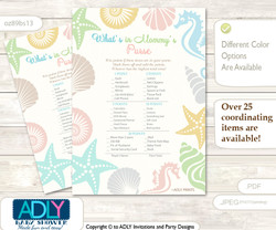 Neutral Beach What is in Mommy's Purse, Baby Shower Purse Game Printable Card , Sea,  Shell