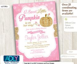 Little Pumpkin Gold Pink Bokeh Autumn invitation for Baby Shower, Pumpkin girl shower, halloween baby shower, instant download