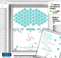 Light Turquoise Blue Girl Lamb Guest Book Printable Alternative and Aqua Grey Lamb Wall Art for Baby Lamb Shower DIY Sheep Grey