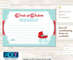 Red Aqua Neutral Stroller Words of Wisdom or an Advice Printable Card for Baby Shower, Carriage