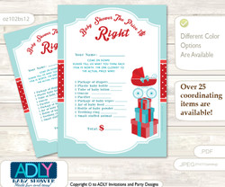 Printable Neutral Stroller Price is Right Game Card for Baby Stroller Shower, Red Aqua, Carriage