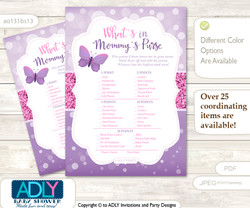 Girl Buttefly What is in Mommy's Purse, Baby Shower Purse Game Printable Card , Purple Pink,  Bokeh