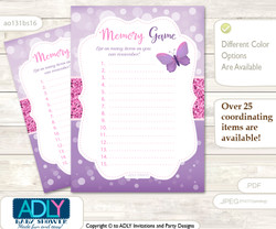 Girl Buttefly Memory Game Card for Baby Shower, Printable Guess Card, Purple Pink, Bokeh