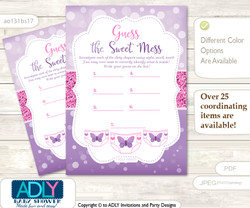 Girl Buttefly Dirty Diaper Game or Guess Sweet Mess Game for a Baby Shower Purple Pink, Bokeh