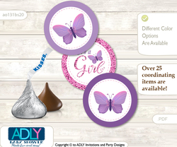 Printable  Girl Buttefly Candy Kisses for Baby Girl Shower DIY Purple Pink , Bokeh