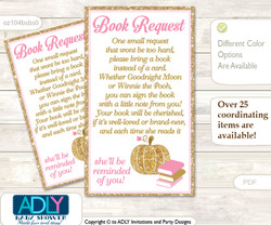Request a Book Instead of a Card for Girl Pumpkin Baby Shower or Birthday, Printable Book DIY Tickets, Glitter,Pink Gold
