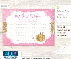 Pink Gold Girl Pumpkin Words of Wisdom or an Advice Printable Card for Baby Shower, Glitter