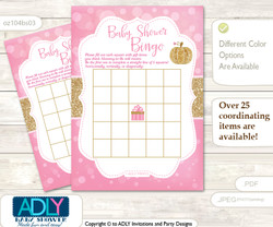 Printable Pink Gold Pumpkin Bingo Game Printable Card for Baby Girl Shower DIY grey, Pink Gold, Glitter