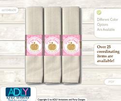 Printable Girl Pumpkin Napkin Ring Label or Napkin Holders for Baby Shower, Pink Gold, Glitter