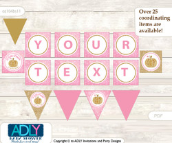 Personalized Girl Pumpkin Printable Banner for Baby Shower, Pink Gold, Glitter