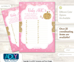 Girl Pumpkin Baby ABC's Game, guess Animals Printable Card for Baby Pumpkin Shower DIY –Glitter