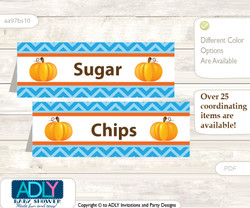 Printable Boy Pumpkin Buffet Tags or Food Tent Labels  for a Baby Shower or Birthday , Blue Orange, Chevron