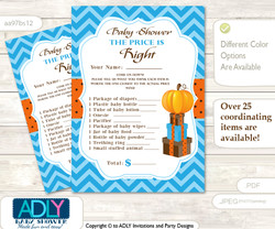Printable Boy Pumpkin Price is Right Game Card for Baby Pumpkin Shower, Blue Orange, Chevron
