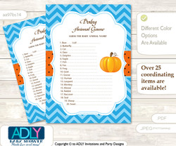 Printable Boy Pumpkin Baby Animal Game, Guess Names of Baby Animals Printable for Baby Pumpkin Shower, Blue Orange, Chevron