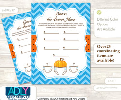 Boy Pumpkin Dirty Diaper Game or Guess Sweet Mess Game for a Baby Shower Blue Orange, Chevron