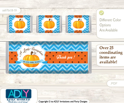 Boy Pumpkin Chocolate Bar Wrapper and Nuggets Candy Wrapper Label for Baby Boy Shower  Blue Orange , Chevron