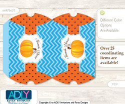 Boy Pumpkin Pillow Box for Candy, Little Treats or Small Gift of any Baby Shower or Birthday, Blue Orange , Chevron