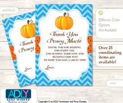 Boy  Pumpkin Thank you Cards for a Baby Boy Shower or Birthday DIY Blue Orange, Chevron