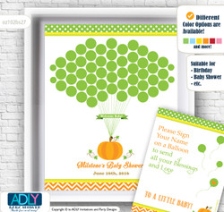 Neutral Pumpkin Guest Book Alternative for a Baby Shower, Creative Nursery Wall Art Gift, Green Orange, Chevron