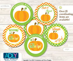 Baby Shower Neutral Pumpkin Cupcake Toppers Printable File for Little Neutral and Mommy-to-be, favor tags, circle toppers, Chevron, Green Orange
