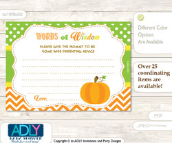 Green Orange Neutral Pumpkin Words of Wisdom or an Advice Printable Card for Baby Shower, Chevron