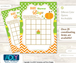 Printable Green Orange Pumpkin Bingo Game Printable Card for Baby Neutral Shower DIY grey, Green Orange, Chevron