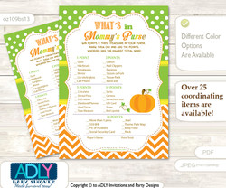 Neutral Pumpkin What is in Mommy's Purse, Baby Shower Purse Game Printable Card , Green Orange,  Chevron