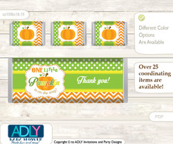 Neutral Pumpkin Chocolate Bar Wrapper and Nuggets Candy Wrapper Label for Baby Neutral Shower  Green Orange , Chevron