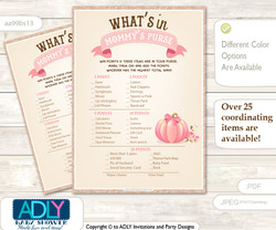 Girl Pumpkin What is in Mommy's Purse, Baby Shower Purse Game Printable Card , Pink,  Glitter