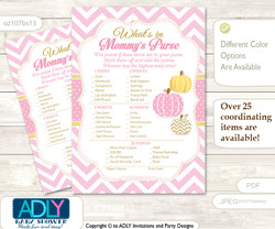 Girl Pumpkin What is in Mommy's Purse, Baby Shower Purse Game Printable Card , Pink,  Chevron