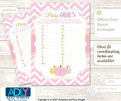 Girl Pumpkin Baby ABC's Game, guess Animals Printable Card for Baby Pumpkin Shower DIY –Chevron
