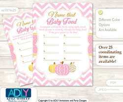 Girl Pumpkin Guess Baby Food Game or Name That Baby Food Game for a Baby Shower, Pink Chevron
