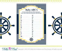 Yellow Navy ABC's Game Nautical Baby Shower Game Printable for a Nautical Boy Party - sailboat  DIY- ONLY digital file - you print SKU41