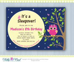 Personalized Girl Night Owl Sleepover Birthday Party Printable invitation with pink owl  - ONLY digital file - you print