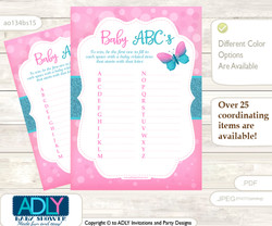 Pink Butterfly Baby ABC's Game, guess Animals Printable Card for Baby Butterfly Shower DIY –Glitter
