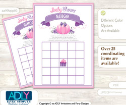 Printable Pink Pumpkin Bingo Game Printable Card for Baby Girl Shower DIY grey, Pink, Puprle
