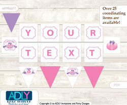 Personalized Girl Pumpkin Printable Banner for Baby Shower, Pink, Puprle
