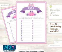 Girl Pumpkin Baby ABC's Game, guess Animals Printable Card for Baby Pumpkin Shower DIY –Puprle