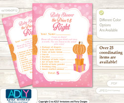 Printable Girl Pumpkin Price is Right Game Card for Baby Pumpkin Shower, Pink, Orange