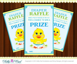 Diaper Raffle Rubber Duck Boy Baby Shower Tickets Printables for Baby Boy or Baby Girl Shower DIY  - ONLY digital file - you print
