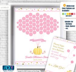 Gold Pumpkin Guest Book Alternative for a Baby Shower, Creative Nursery Wall Art Gift, Pink, Polka