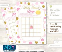 Printable Pink Pumpkin Bingo Game Printable Card for Baby Gold Shower DIY grey, Pink, Polka