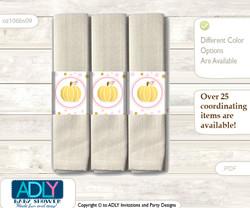 Printable Gold Pumpkin Napkin Ring Label or Napkin Holders for Baby Shower, Pink, Polka