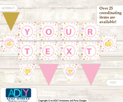Personalized Gold Pumpkin Printable Banner for Baby Shower, Pink, Polka