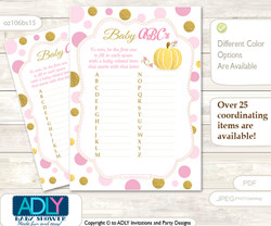 Gold Pumpkin Baby ABC's Game, guess Animals Printable Card for Baby Pumpkin Shower DIY –Polka