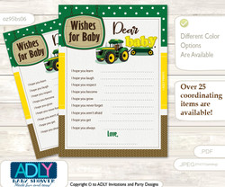 Boy Tractor Wishes for a Baby, Well Wishes for a Little Tractor Printable Card, Farm, green Yellow