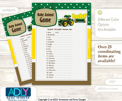 Boy Tractor What is in Mommy's Purse, Baby Shower Purse Game Printable Card , green Yellow,  Farm  Printable Boy Tractor Baby Animal Game, Guess Names of Baby Animals Printable for Baby Tractor Shower, green Yellow, Farm
