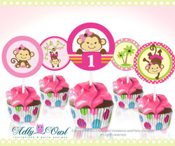 Personalized Pink Girl Monkeys Birthday Cupcake Toppers or Favor Tags Printables DIY  - ONLY digital file - you print